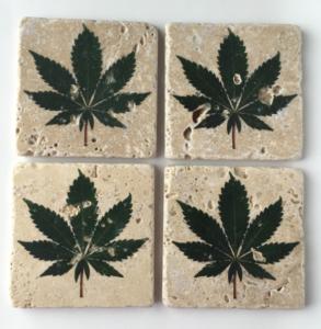 Cannabis leaf coasters