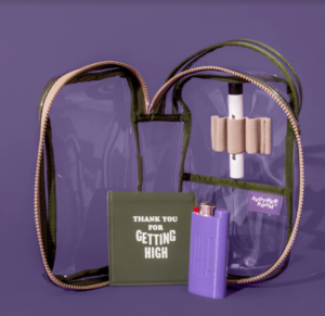 Marijuana clear vinyl travel kit with lighter, tube, and smell proof pouch