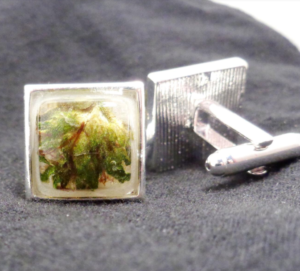 Silver cuff links with embedded cannabis flower gift